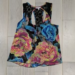 Candie's Sheer Floral Lace Blouse
